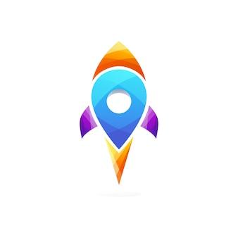 Modelo de logotipo de localização de foguete