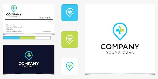 Modelo de logotipo de localização de hospital médico de luxo premium para empresa