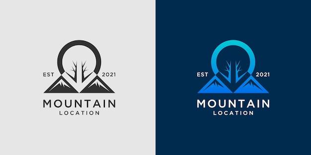 Modelo de logotipo de localização de montanha