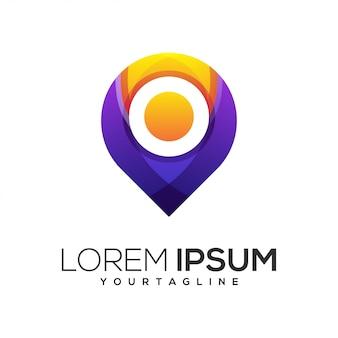 Modelo de logotipo de localização de pino