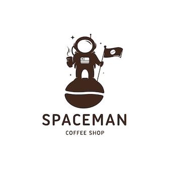 Modelo de logotipo de loja de café astronauta