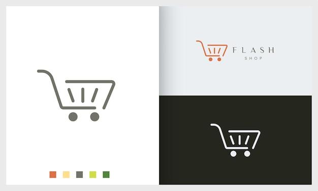 Modelo de logotipo de loja ou carrinho com formato simples