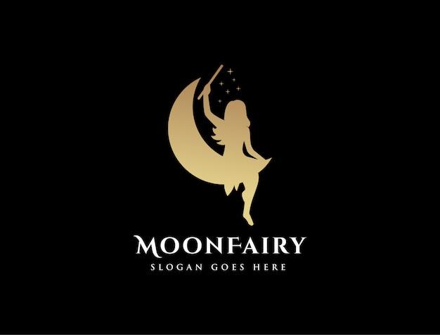 Modelo de logotipo de lua e fada