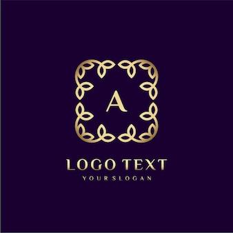 Modelo de logotipo de luxo (a) para sua marca com decoração floral