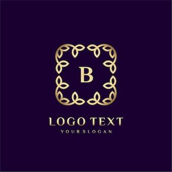 Modelo de logotipo de luxo (b) para sua marca com decoração floral
