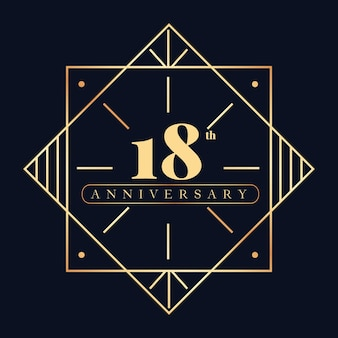 Modelo de logotipo de luxo do 18º aniversário