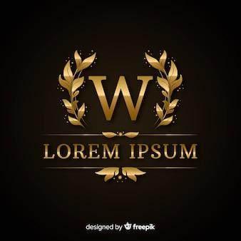 Modelo de logotipo de luxo elegante dourado
