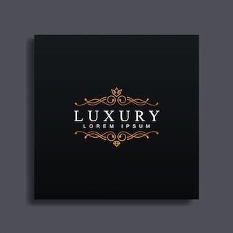 Modelo de logotipo de luxo, estilo de floreio de luxo, para casamento,