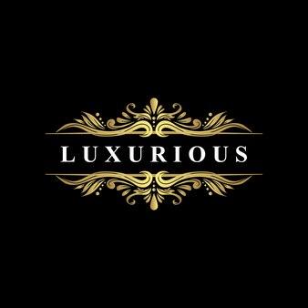 Modelo de logotipo de luxo, estilo floreio de luxo