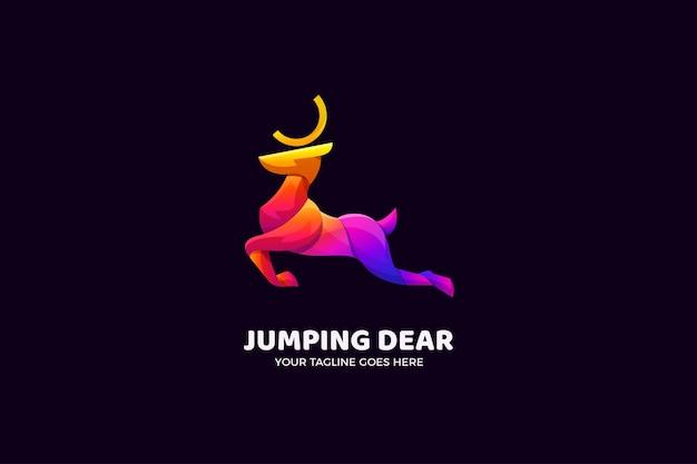 Modelo de logotipo de luxo jumping deer