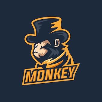 Modelo de logotipo de macaco