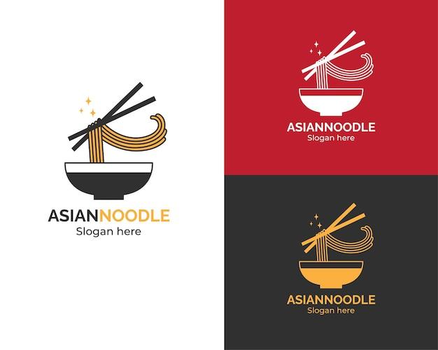 Modelo de logotipo de macarrão asiático
