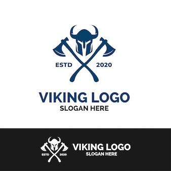 Modelo de logotipo de machado viking