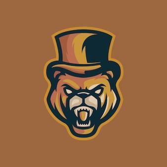Modelo de logotipo de mafia de urso