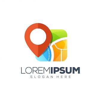 Modelo de logotipo de mapas de localização