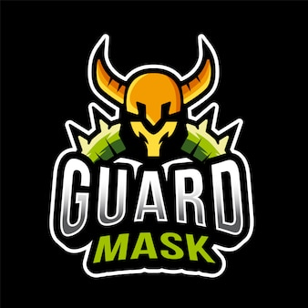 Modelo de logotipo de máscara de guarda viking esport