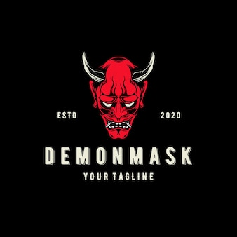 Modelo de logotipo de máscara demon oni isolado em preto