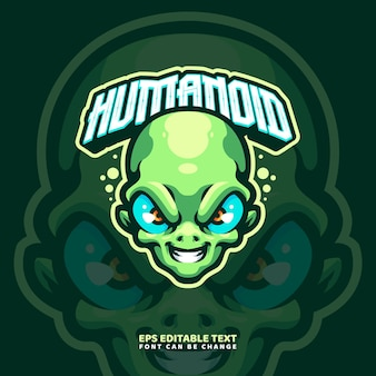 Modelo de logotipo de mascote alienígena