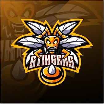 Modelo de logotipo de mascote de abelha zangada