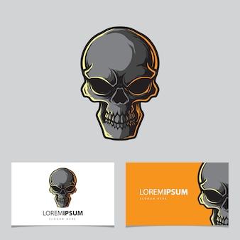 Modelo de logotipo de mascote de base de crânio