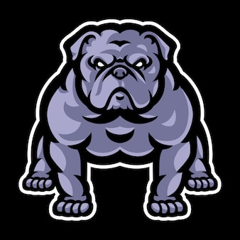 Modelo de logotipo de mascote de buldogue