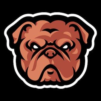 Modelo de logotipo de mascote de cabeça de buldogue