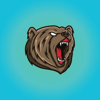 Modelo de logotipo de mascote de cabeça de urso
