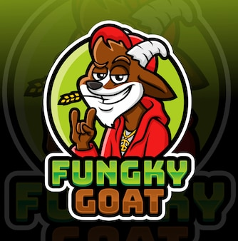 Modelo de logotipo de mascote de cabra funky