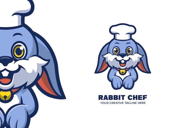 Modelo de logotipo de mascote de chef coelho fofo