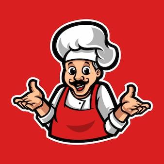 Modelo de logotipo de mascote de chef