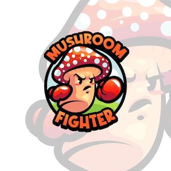Modelo de logotipo de mascote de cogumelo