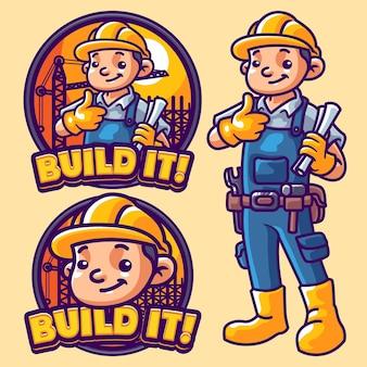 Modelo de logotipo de mascote de construção