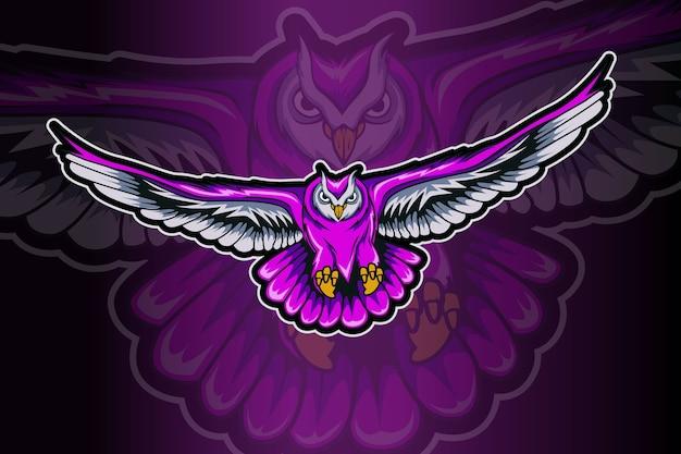Modelo de logotipo de mascote de coruja