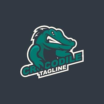 Modelo de logotipo de mascote de crocodilo