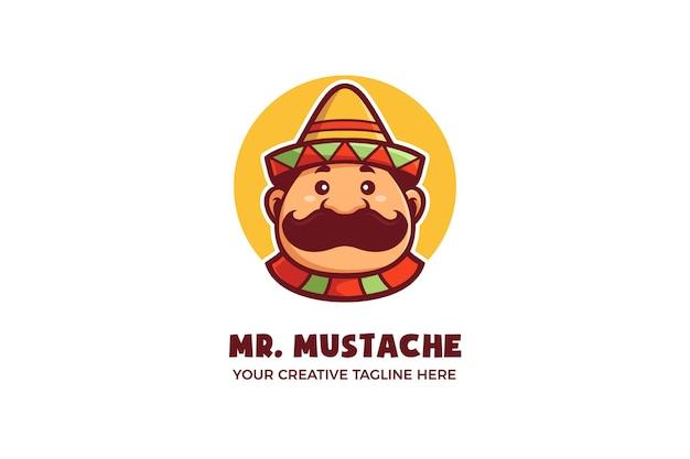 Modelo de logotipo de mascote de desenho animado bonito mexicano