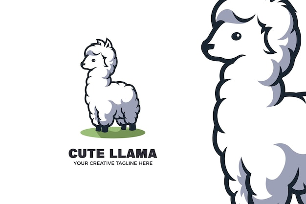 Modelo de logotipo de mascote de desenho animado cute little llama alpaca