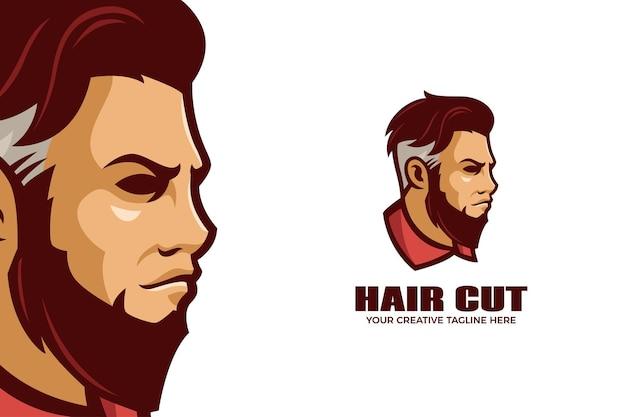Modelo de logotipo de mascote de desenho animado de barbearia
