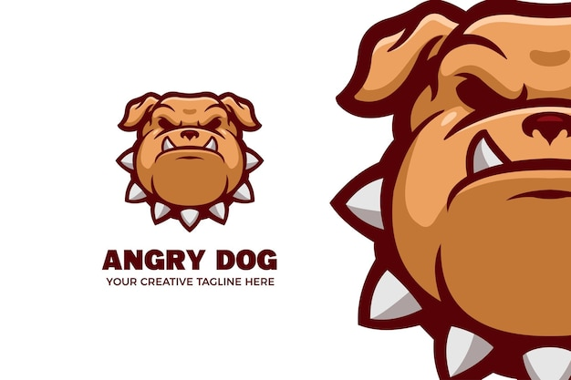 Modelo de logotipo de mascote de desenho animado de bulldog irritado