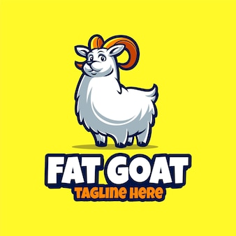 Modelo de logotipo de mascote de desenho animado de cabra gorda fofa