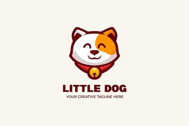 Modelo de logotipo de mascote de desenho animado de cachorro fofo