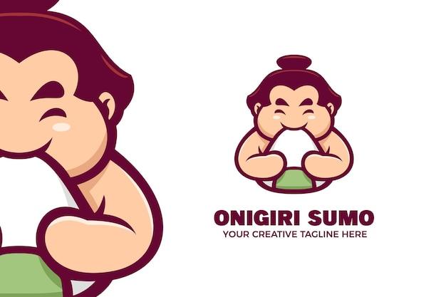 Modelo de logotipo de mascote de desenho animado de comida japonesa Vetor Premium