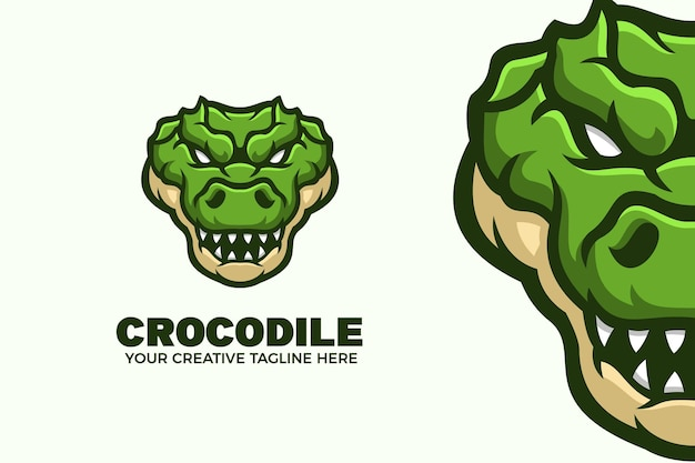 Modelo de logotipo de mascote de desenho animado de crocodilo verde