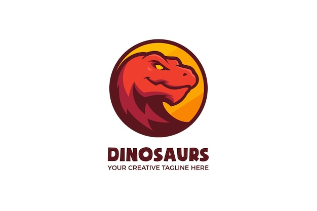 Modelo de logotipo de mascote de desenho animado de dinossauros irritados