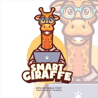 Modelo de logotipo de mascote de desenho animado de girafa