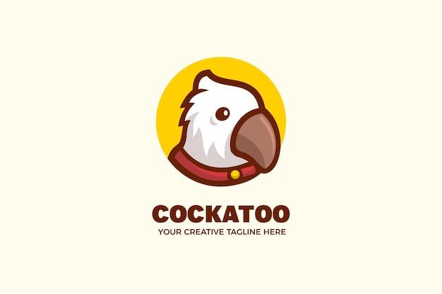 Modelo de logotipo de mascote de desenho animado de pássaro bonito cacatua