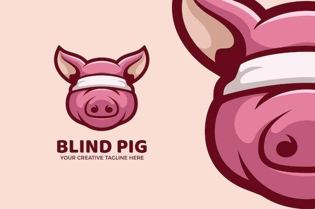 Modelo de logotipo de mascote de desenho animado de porco cego