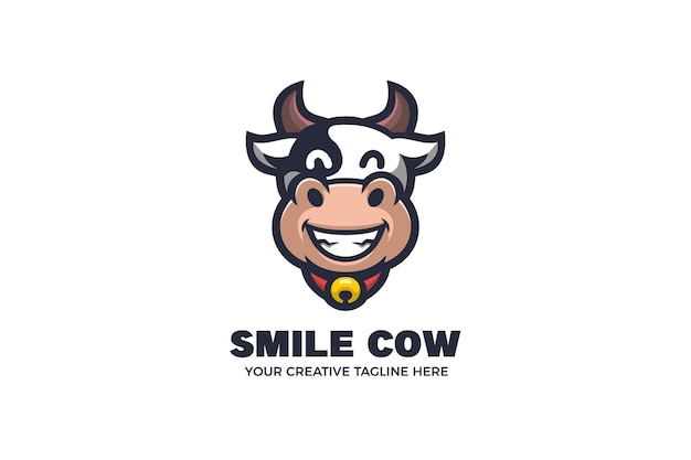 Modelo de logotipo de mascote de desenho animado de vaca fofa
