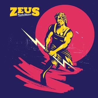 Modelo de logotipo de mascote de deus zeus thunderbolt