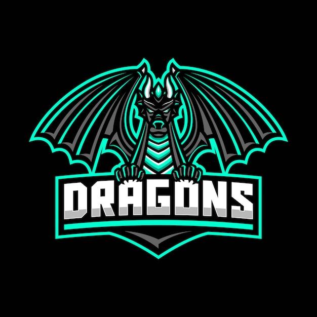 Modelo de logotipo de mascote de dragão preto