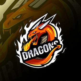 Modelo de logotipo de mascote de dragão